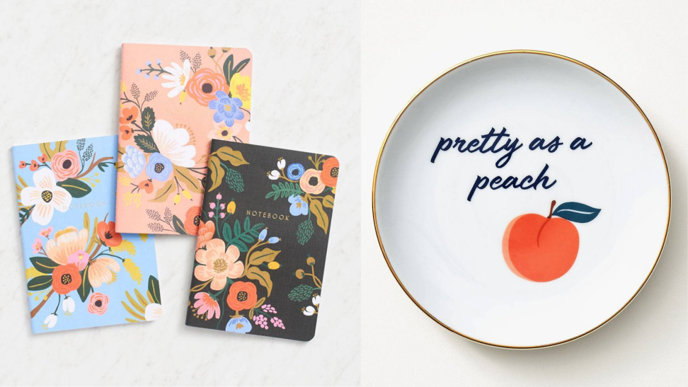 Paper Source Lively Floral Journals and Peach Trinket Tray