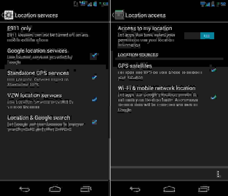 Android Location Services Menu