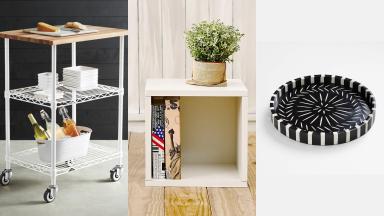 Three images of a bar cart, storage cube, and circular dish.