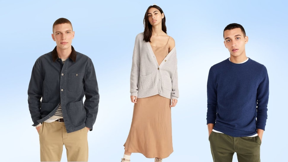 J.Crew models wearing assorted fall apparel in front of blue background.