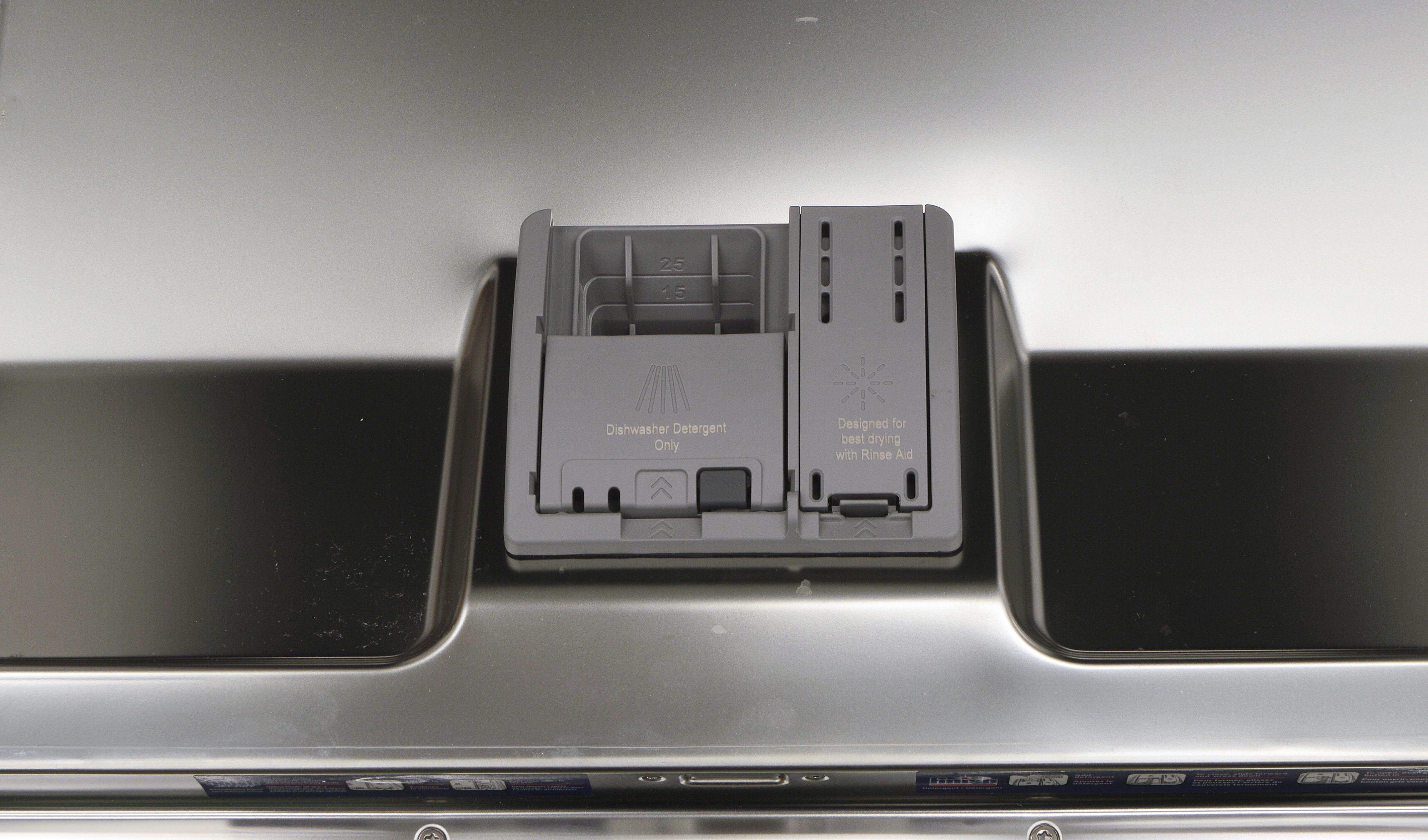 Rinse aid and detergent dispenser on the Thermador DWHD440MFM