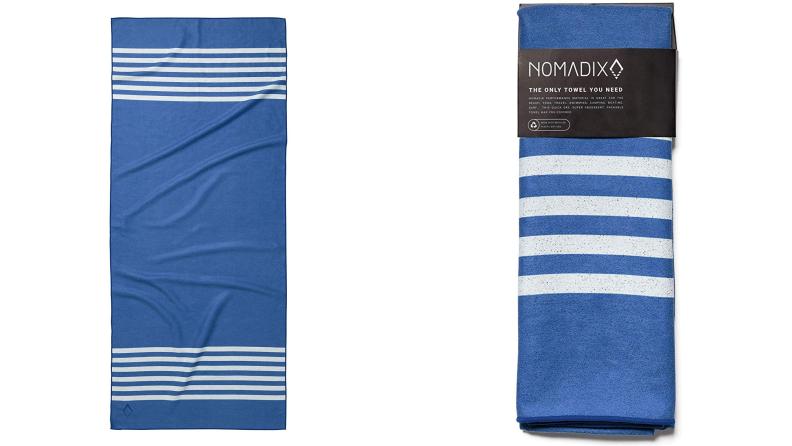 Blue and white Nomadix towel