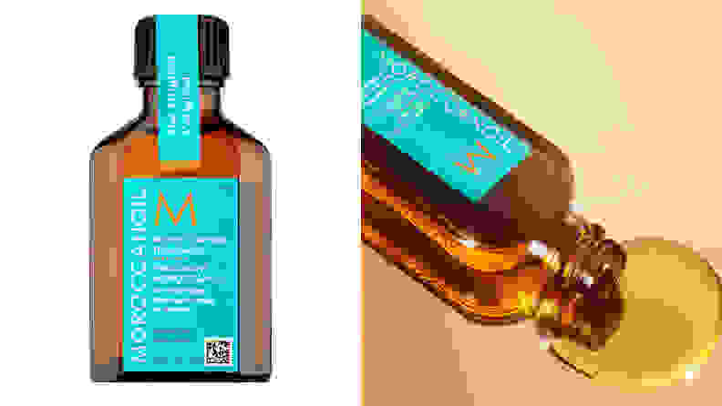 On the left: A mini bottle of the Moroccanoil Treatment. On the right: The Moroccanoil spills oil onto a gold background.