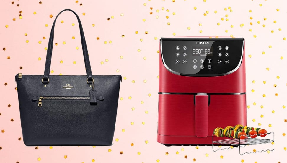 a black coach bag, a red air fryer on a pink sparkly background