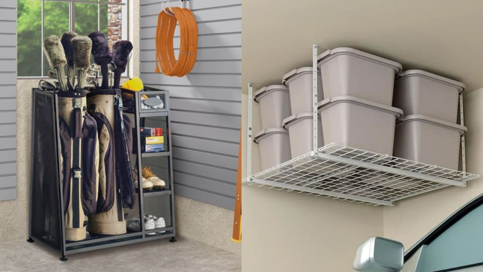 Left: golf organizer with golf clubs and accessories in a garage, Right: bins sitting on an overhead storage unit in a garage