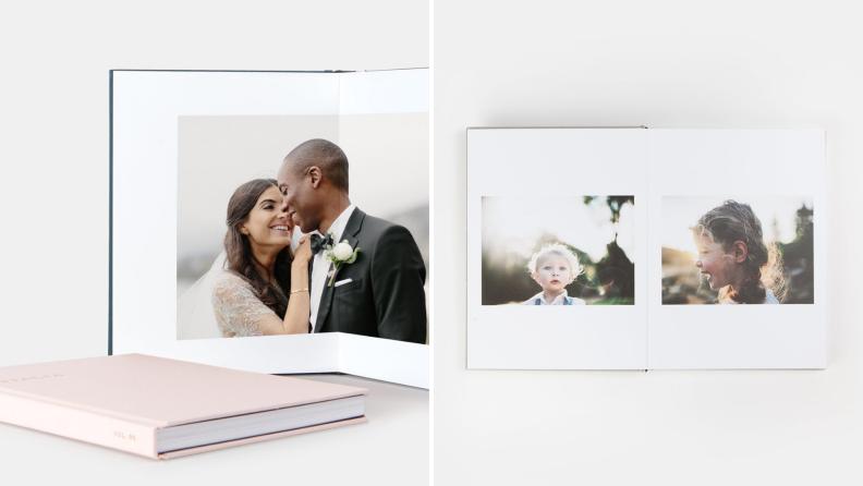 A photo album commemorating a wedding.
