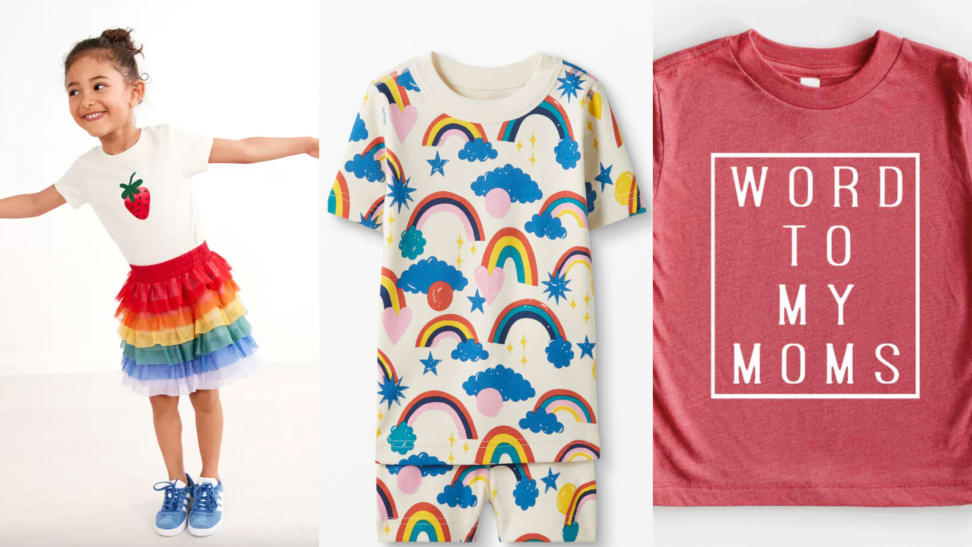 """On left, young girl wearing rainbow tulle skirt. In middle, rainbow print pajamas. On right, red shirt that read, """"Word to my moms."""""""