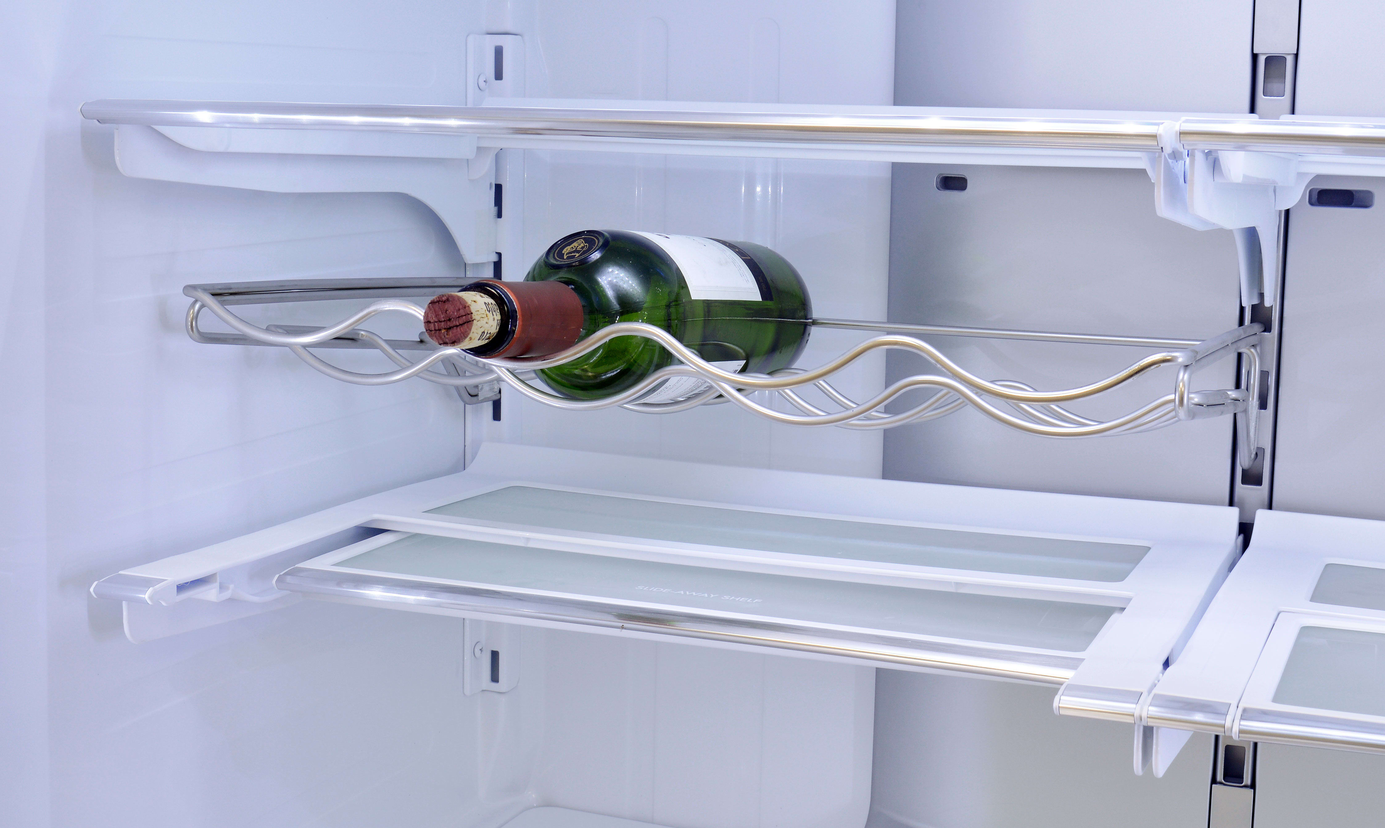 The Kenmore Pro 79993's removable wine rack has enough space for four bottles.