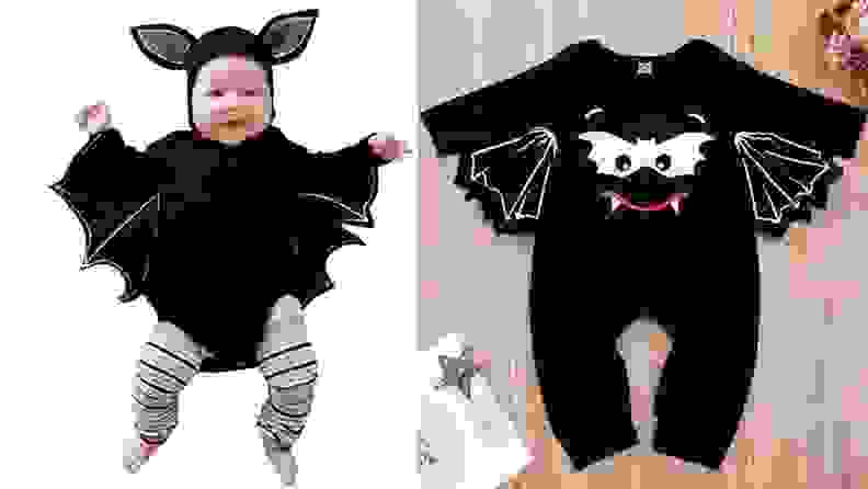 A baby dressed as a black bat for Halloween.