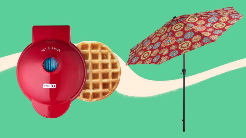 red waffle maker, red umbrella