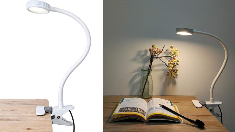 A clip-on reading lamp illuminates a desk.