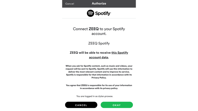 Zeeq Spotify Authorization