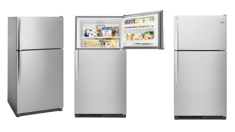 Three images of the same fridge, two with doors closed and the middle image with the freezer door open and food inside.
