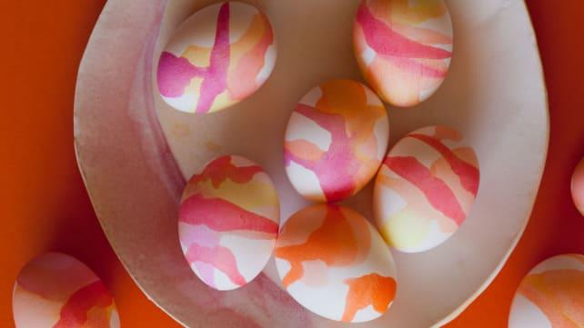 Watercolor drizzle eggs