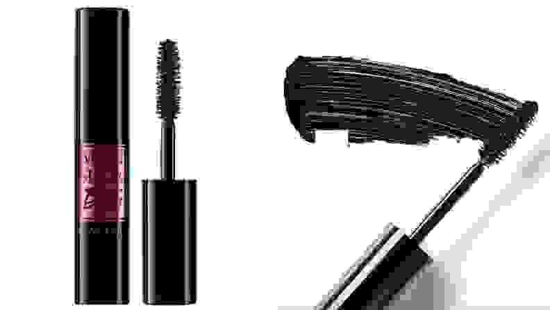 On left, tube of black and pink mascara from Lancôme. On right, black mascara brush.