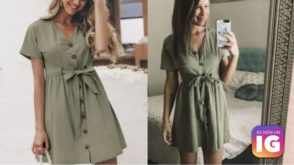 side by side image of Shein dress and our writer, as seen on Instagram