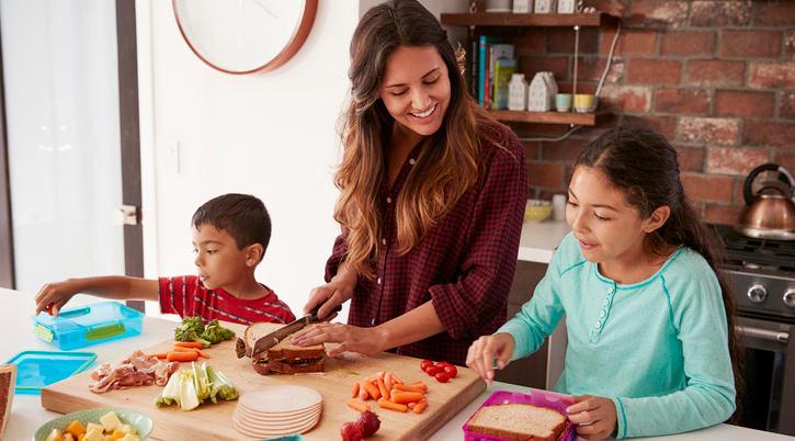 Kids help make lunch