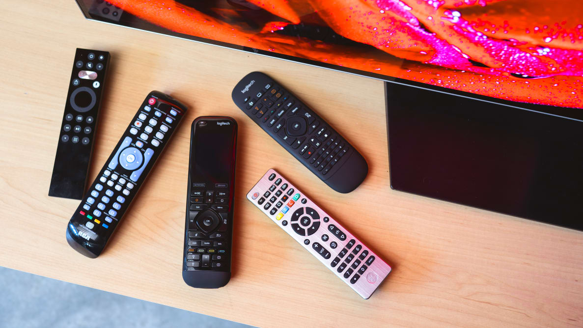 The Caavo Control Center+ remote, the Logitech Harmony Elite, the Logitech Harmony Companion, and universal remote controls from GE and RCA