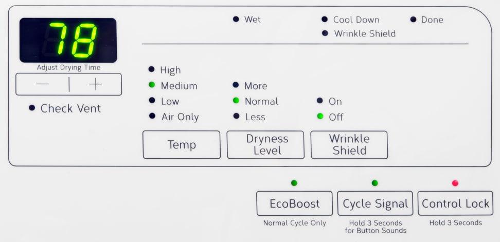 Whirlpool WED75HEFW Controls