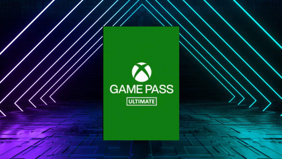 Xbox Ultimate Game Pass logo on neon background