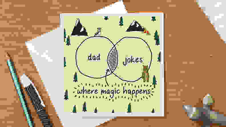 Card with venn diagram of dad and jokes