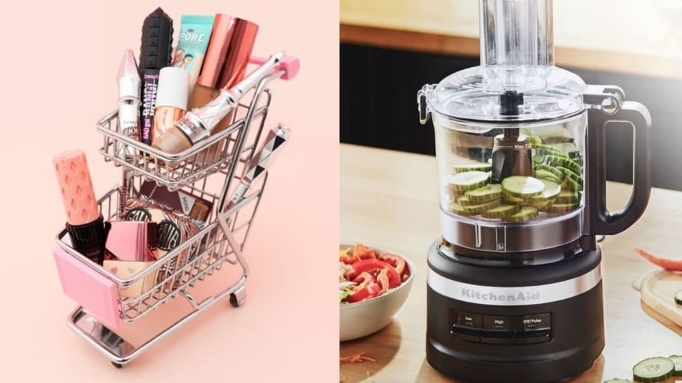 (left) A Benefit Cosmetics makeup carrier in the shape of a shopping cart. (right) A KitchenAid processes vegetables in a kitchen.