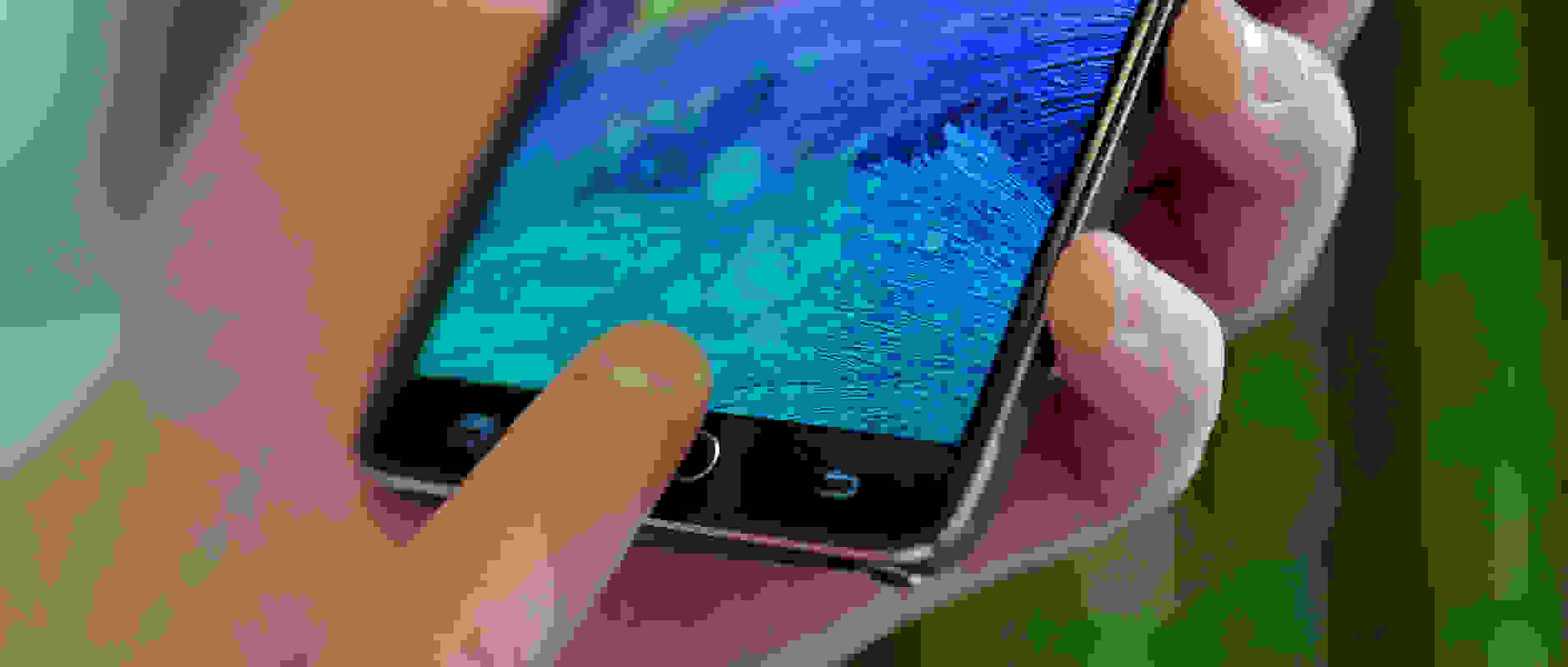 A photograph of the Samsung Galaxy Note 4's fingerprint scanner.