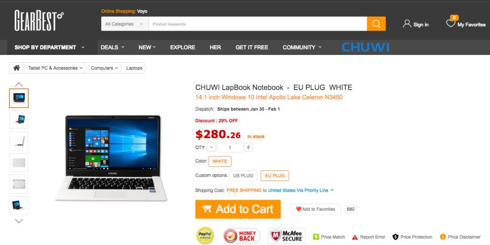 Chuwi Lapbook on Gearbest