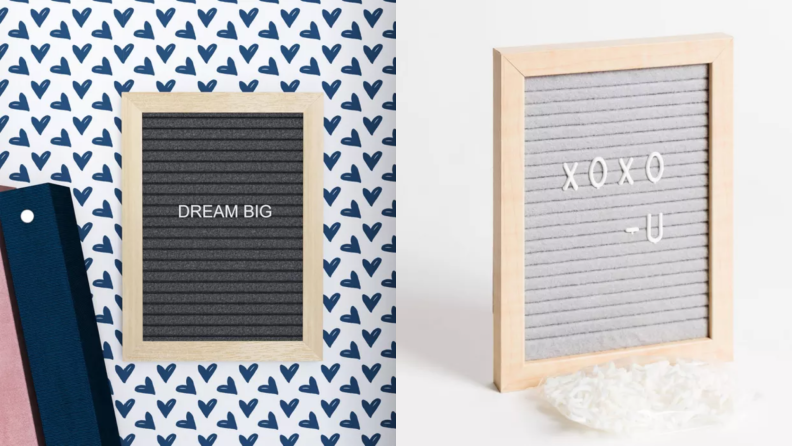 On left, wooden letter board that reads