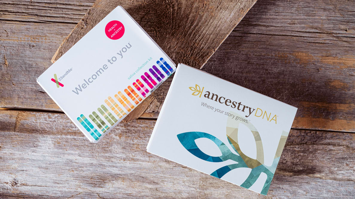 23andMe and AncestryDNA testing kit boxes.