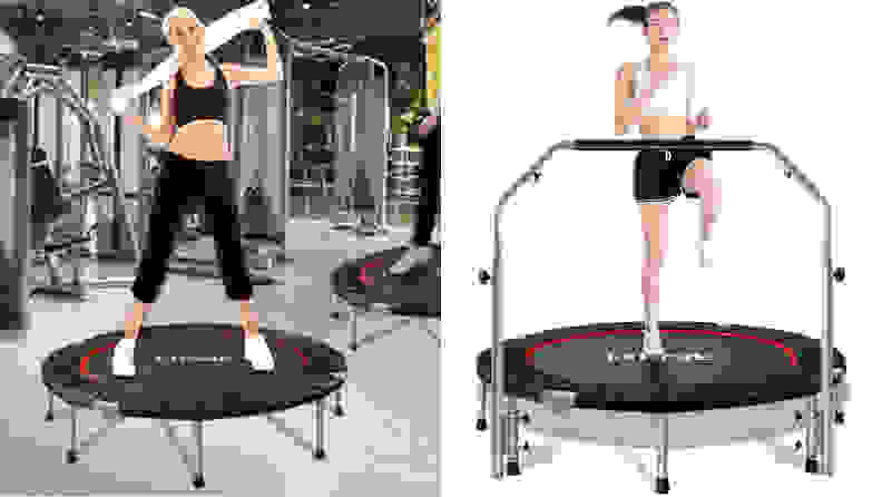 Two women exercising on FirstE rebounders.