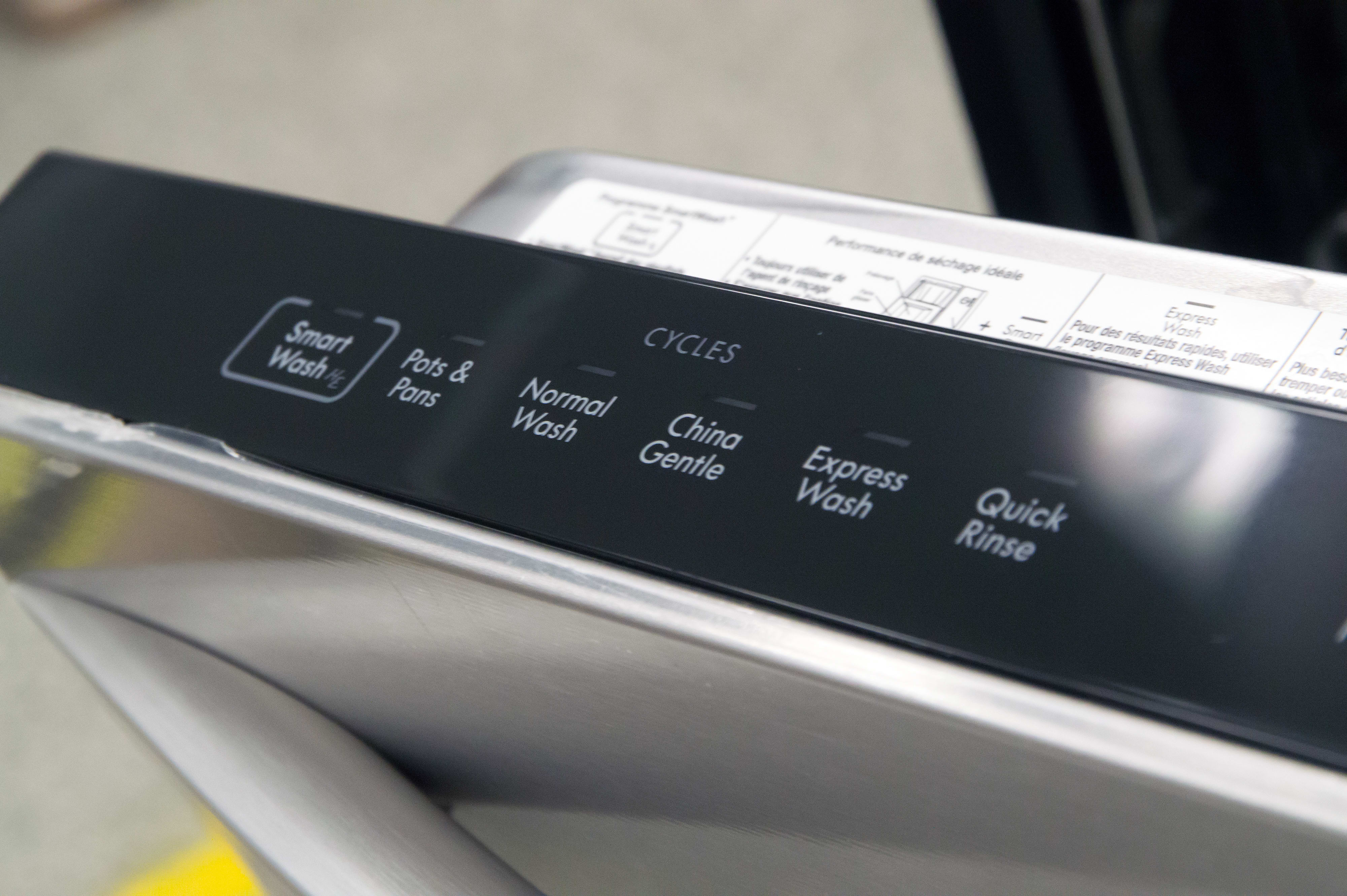Left side of the control panel, for picking wash cycles