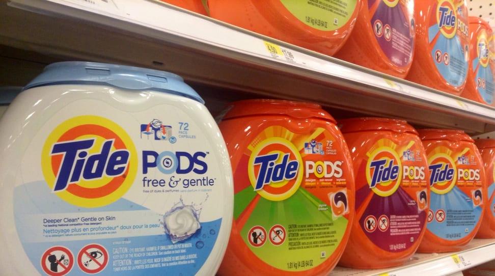 Laundry pods on a store shelf