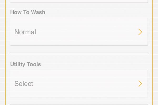 Whirlpool App washer cycle menu