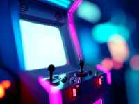 A picture of an arcade game highlighted in blue and pink lights, against a blurred background of an arcade.