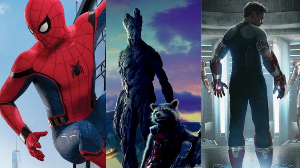 Spider-Man, Groot, Rocket, and Iron Man