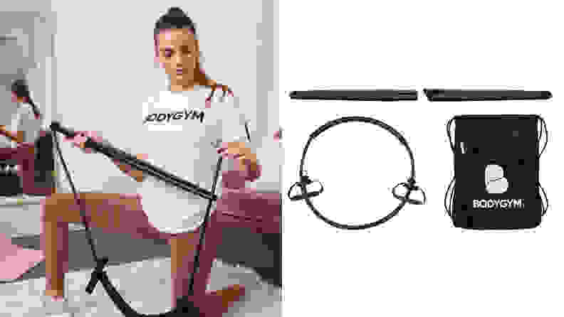 A woman setting up her Bodygym and an image of the Bodygym equipment.