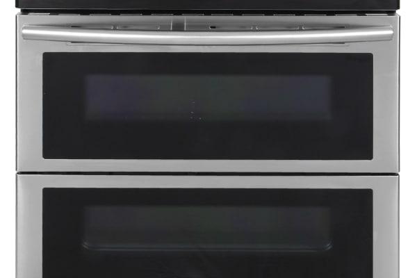 The Samsung NE59J7850WS Flex Duo electric range straight on
