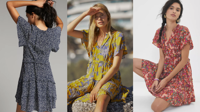 woman wearing patterned mini dress