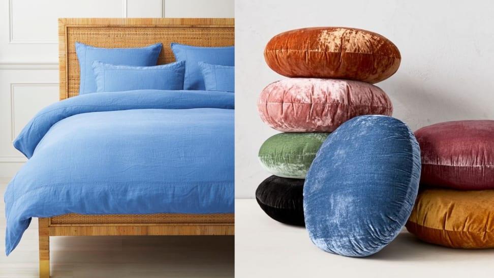 Left: Blue Linen Duvet Cover; Right: Round velvet Pillows
