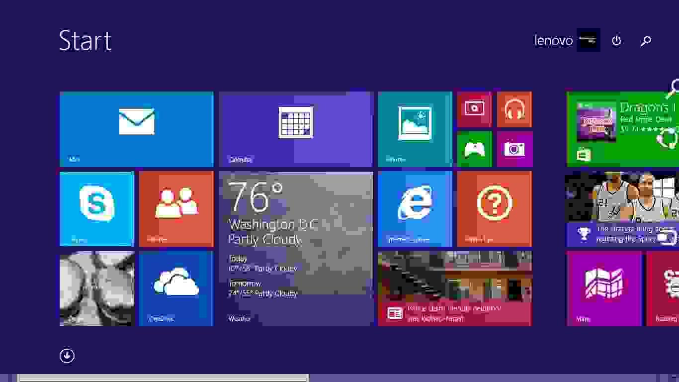A screenshot of the Lenovo Yoga 2 11's software.
