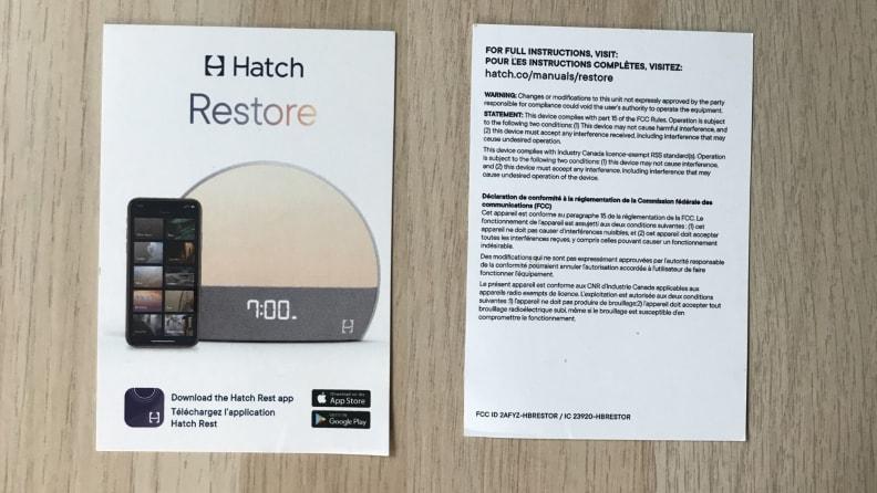 Hatch instruction card