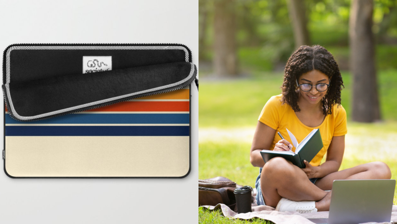 On left tan and multi-colored computer case. On right, young woman writing in journal while sitting outside on blanket on ground with laptop in front of her.