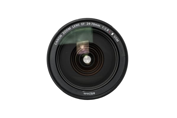 A front view of the EF 24-70mm f/2.8L II USM.