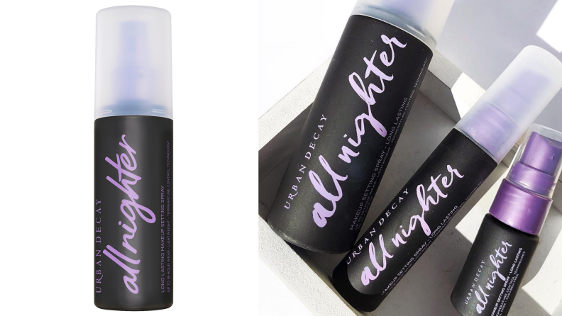 An image of the Urban Decay all nighter spray next to various sizes that the product comes in.