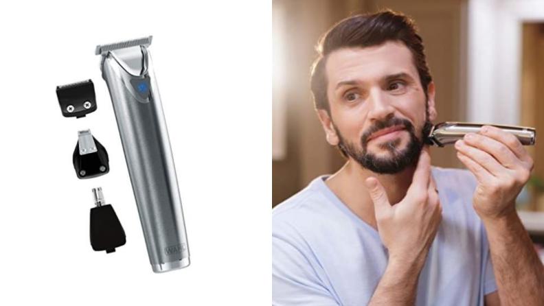 Man using an electric beard trimmer.