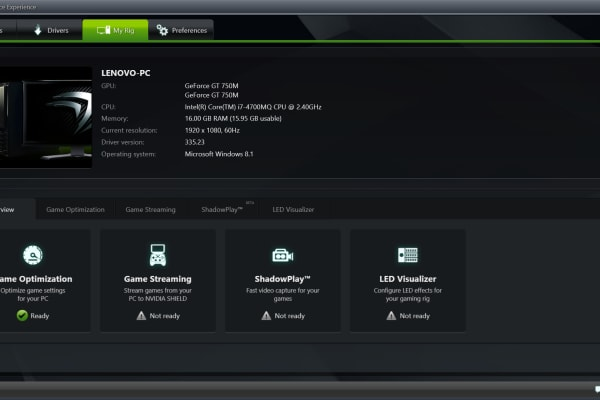The GeForce Experience software is something hardcore gamers will use frequently.