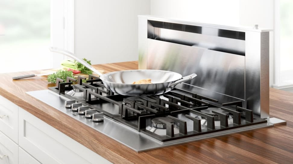 A lifestyle image of a gas cooktop.