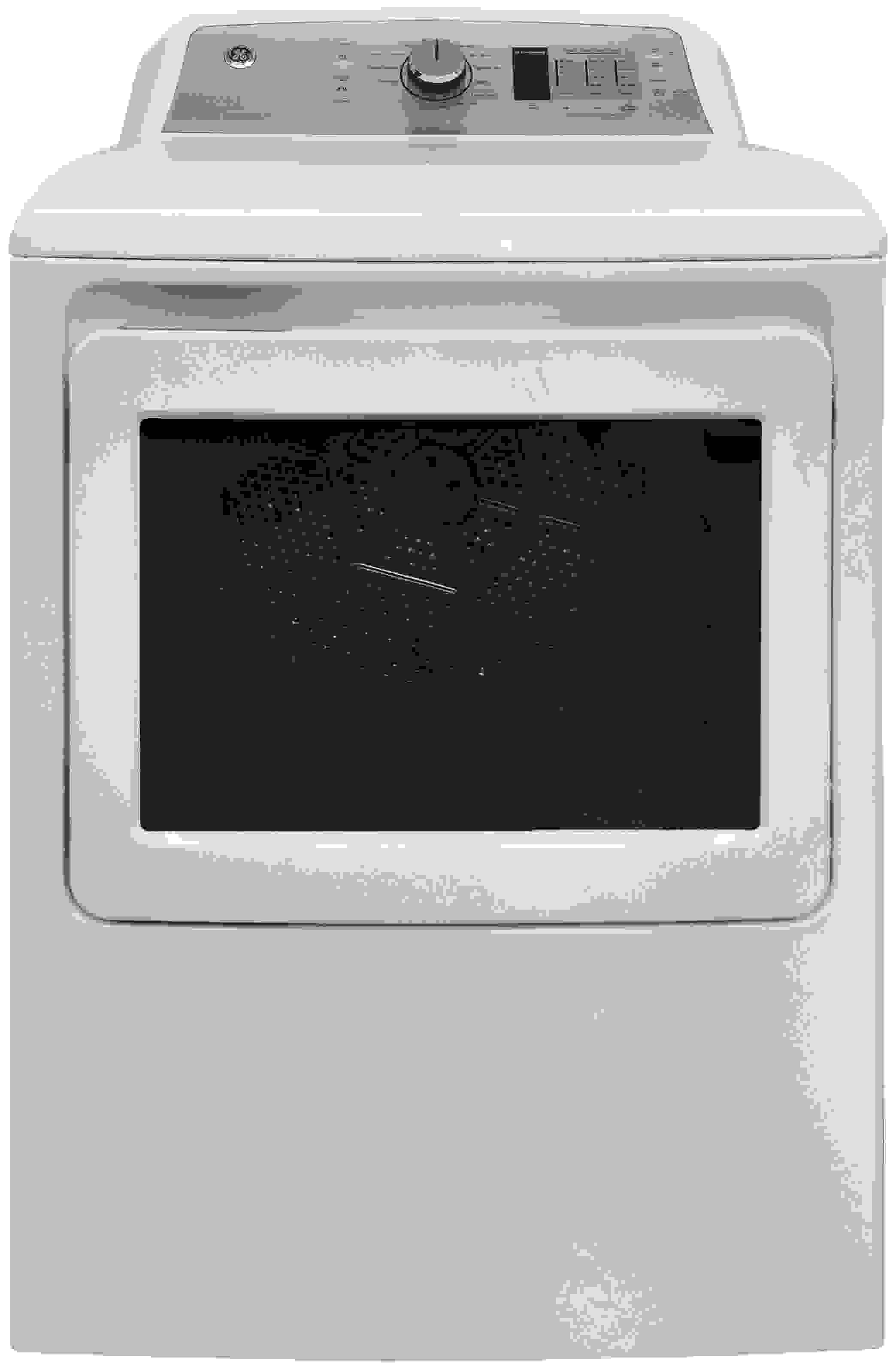The 7.4-cu.-ft. GE GTD65EBSJWS combines basic design with a handful of higher end design elements.
