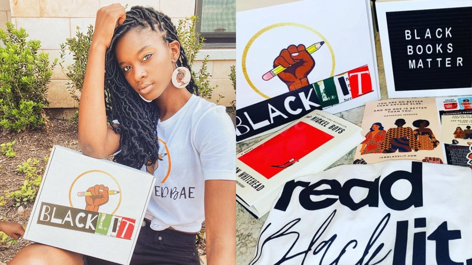 A split image of Nia-Tayler Clark, founder of BlackLIT, a Cratejoy box, and an image of the contents inside a BlackLIT box.